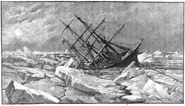 The Sinking of the Jeannette, based on sketch by M. J. Burns, 1881