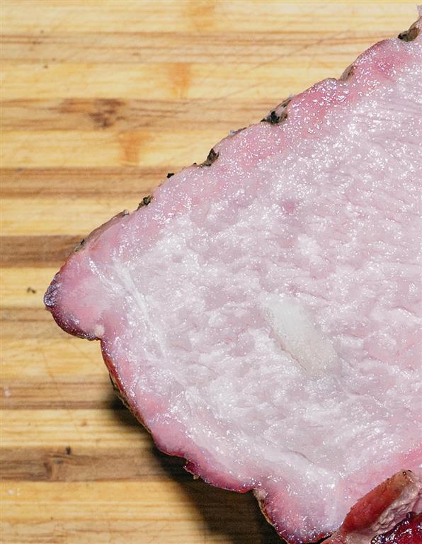 Cut smoked pork shoulder, close-up