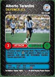 Alberto Tarantini Argentina Time Vault Soccer Football Card V3.1