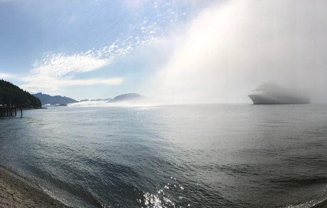Fog and a cruise ship in Alaska.