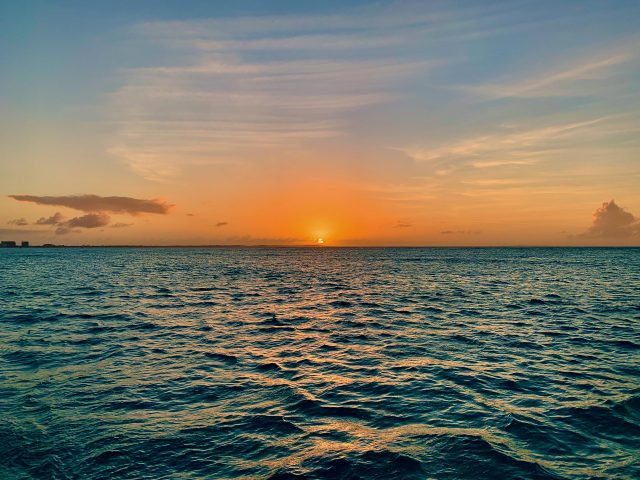 A sunset in the Caribbean off the coast of Turks and Caicos
