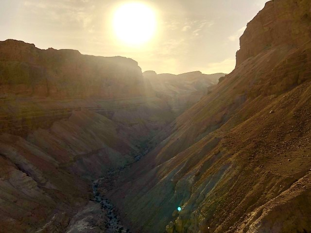 Sun going down at Masada