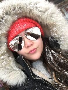Nordstrom beanie, Quay high key sunglasses. H&M sweater, Zara fur hood jacket