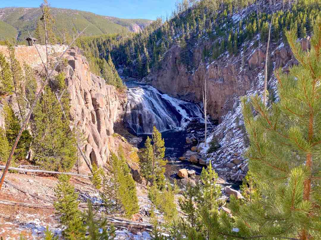 Gibbon Falls waterfall in Yellowstone