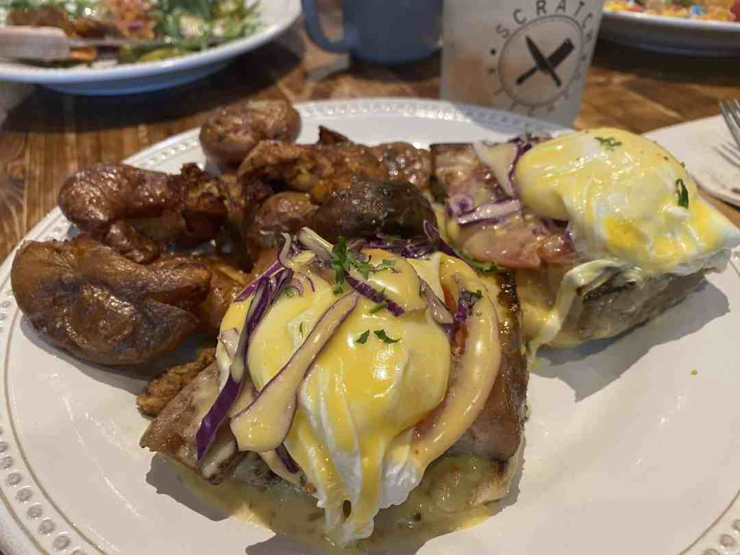 Two Pork belly eggs Benedict from Scratch Kitchen