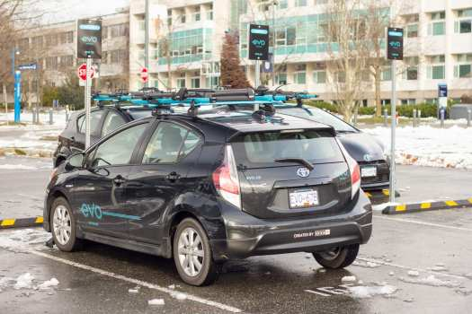 EVO Car Share at UBC campus in Vancouver