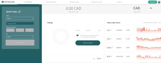 coinsquare dashboard interface