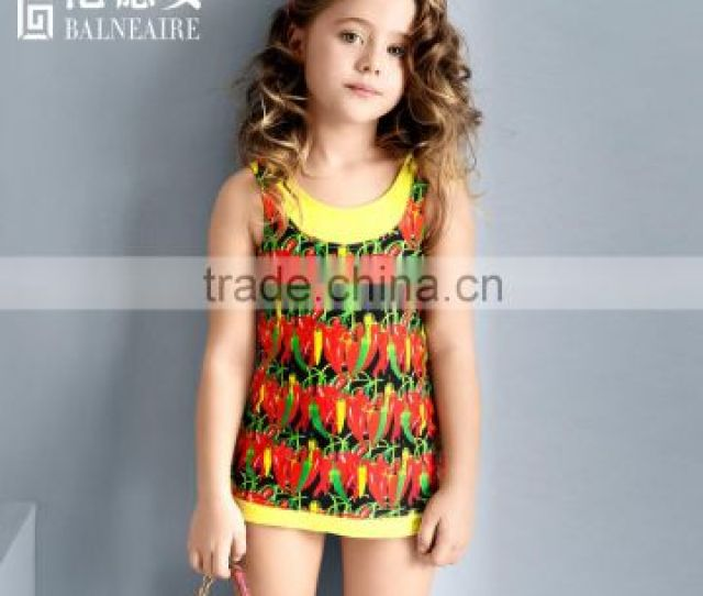 Balneaire  Hot Sale Digital Print Child Models Girls In Bikinisexy Kids Swimwear