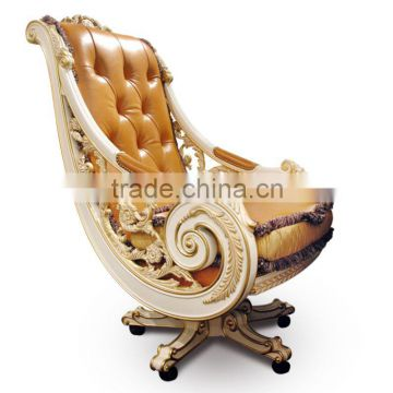 office chair quality covers hire ipswich luxury genuine leather new design baroque golden carved swivel executive