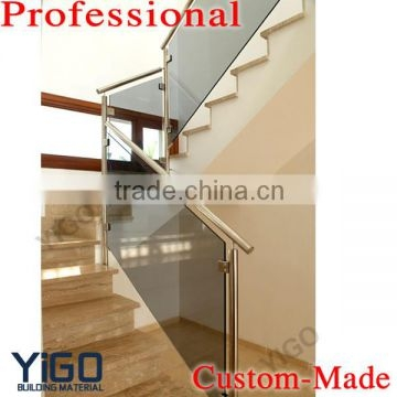 Modern Design Stainless Steel Glass Railing Model Interior Stair | Stainless Steel Glass Staircase | Transparent | Handle | Powder Coated Steel | Open Tread | Black Stained
