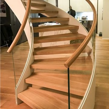 Best Selling Curved Glass Staircase With Solid Oak Wood Treads | Oak Handrail For Glass | Cottage Style | Glass Railing | Red Oak | Landing | Stair Railing