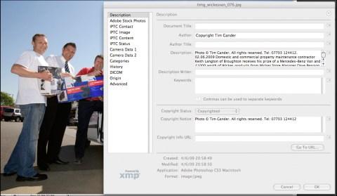 IPTC file info field