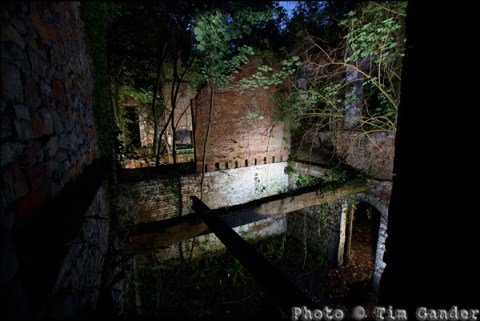 photo of Mells Iron Works at night