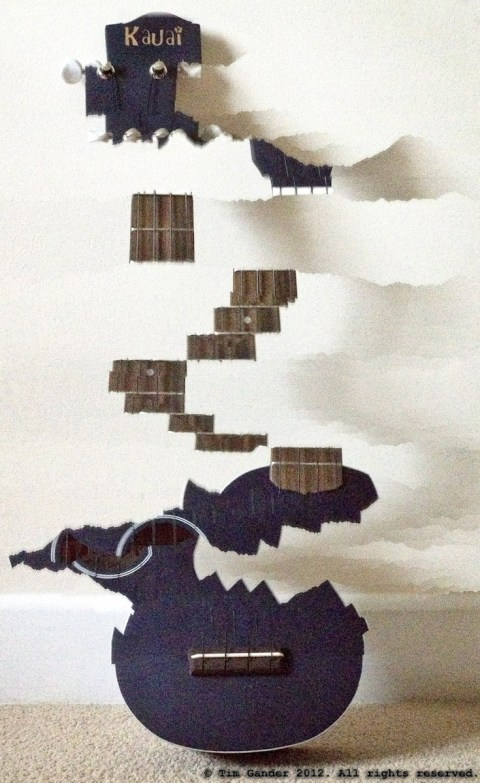photo taken using the iPhone's panorama function to create an abstract photo of a ukulele
