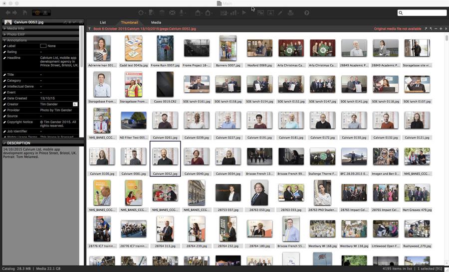 Screen shot of a Media Pro image catalogue.