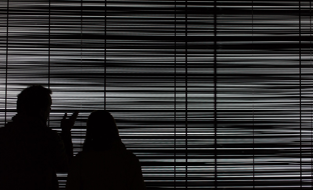 """White Noise, a """"video"""" installation by Zilvinas Kampinas."""
