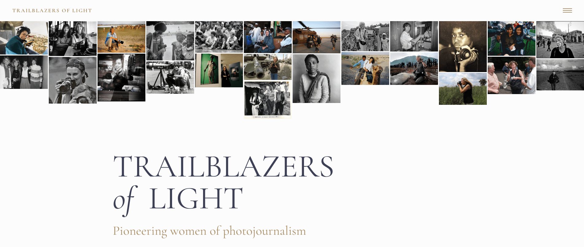 Screen grab of the Trailblazers of Light home page.