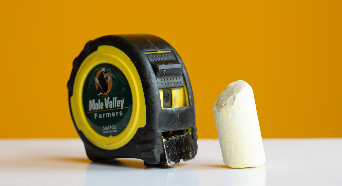 A tape measure and chalk