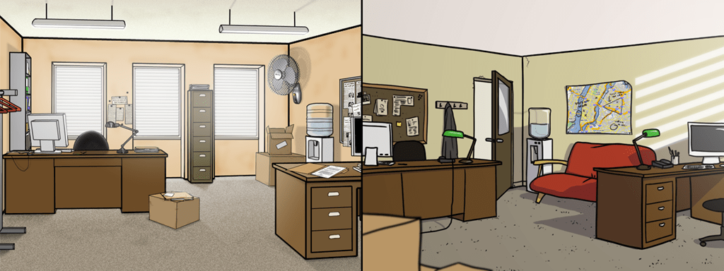 old and new versions of Adam and Frank's office