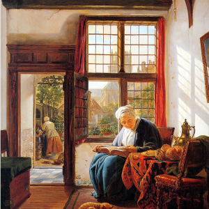 Woman reading at the window