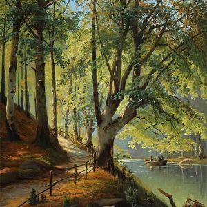Forest area with newly developed beech leaves and rowboat people