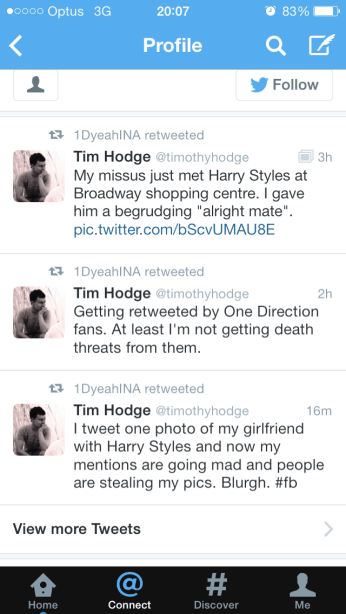 One Direction fan retweeting @timothyhodge