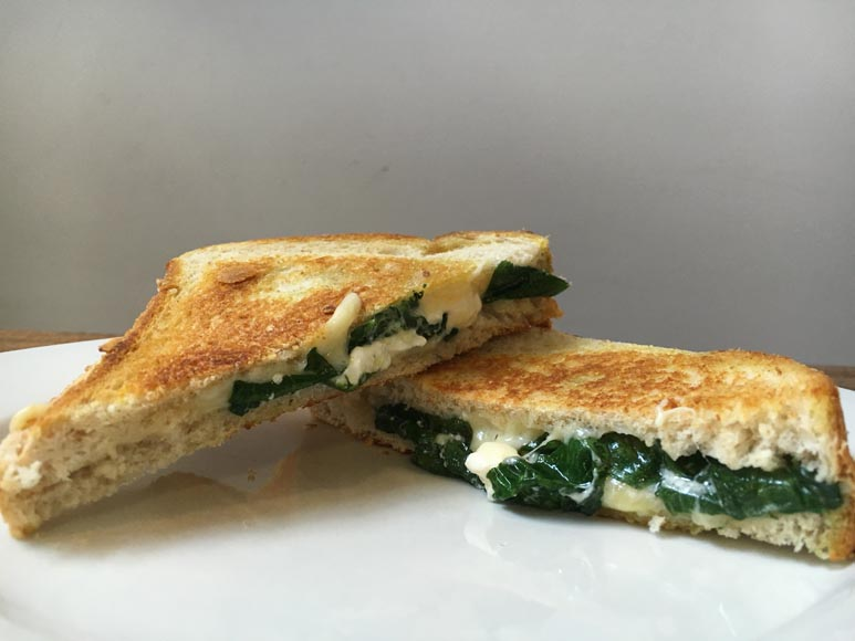spinach and fetta toasted sandwich