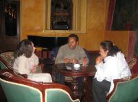 Josie, Jose Luis and Claudia in the hotel bar