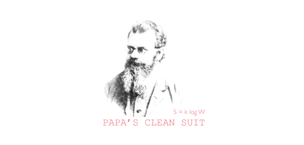 Papa's Clean Suit, A radio play by Tim Jackson, exploring the perennial implications of Ludwig Boltzman's famous entropy law—later inscribed on this tombstone as S = k log W.
