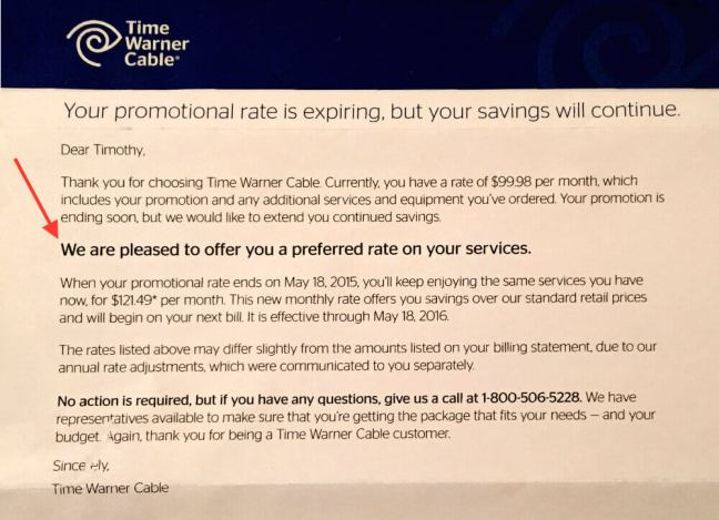 Time Warner Cable Letter