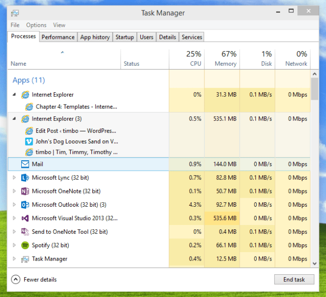 Task Manager Screen Clip