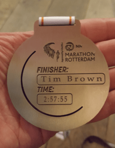 Finishers medal with 2:57:55 engraved