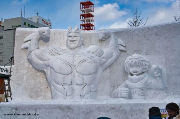 "Bild einer ""My Hero Academia""-Schneeskulptur beim Yuki Matsuri"