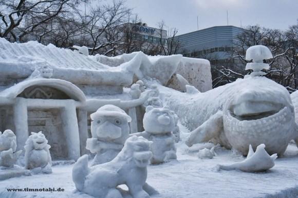 Bild einer Schneeskulptur beim Yuki Matsuri
