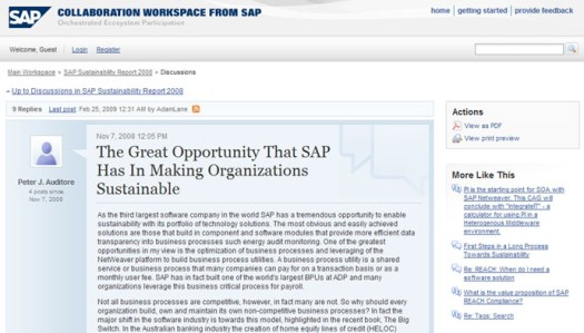 SAP collaboration workspace for sustainability