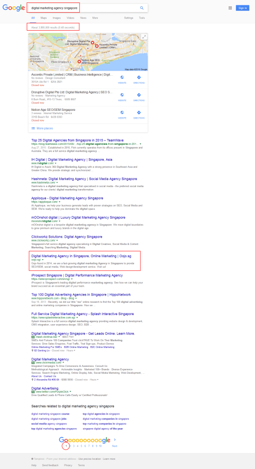 SEO ranked OOJO on Google's 1st Page
