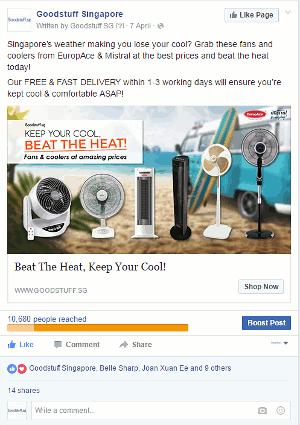 Digital Marketing Consultant Singapore - Portfolio - Facebook Marketing - Instagram Ad Campaign to Beat The Heat