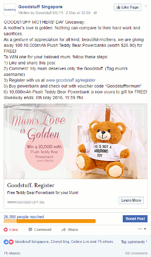 Digital Marketing Consultant Singapore - Portfolio - Facebook Marketing - Mother's Day Ad Campaign