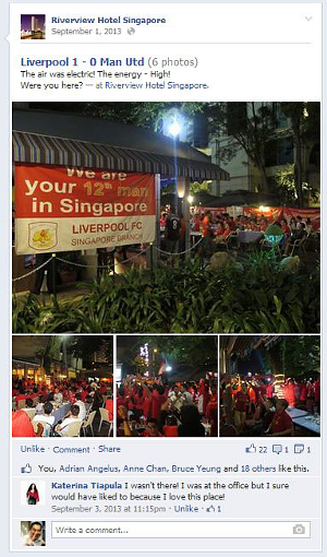 Digital Marketing Consultant Singapore - Portfolio - Facebook Marketing - Liverpool Football Club regular meet at Riverview Hotel