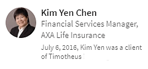 Digital Marketing Consultant Singapore - Testimonial - By Kim Chen, AXA