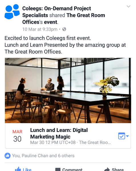 Facebook Ad campaign that was run to Promote Lunch and Learn