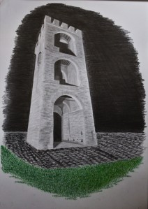 Tower in perspective. Final homework assignment. Pencils+colored pencils