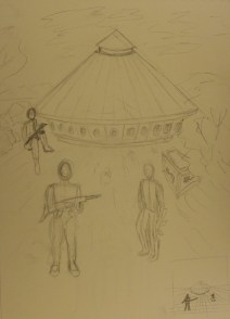 rough sketch of initial idea for final drawing