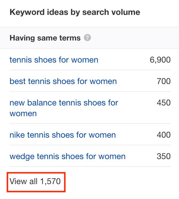 keywords from Ahrefs