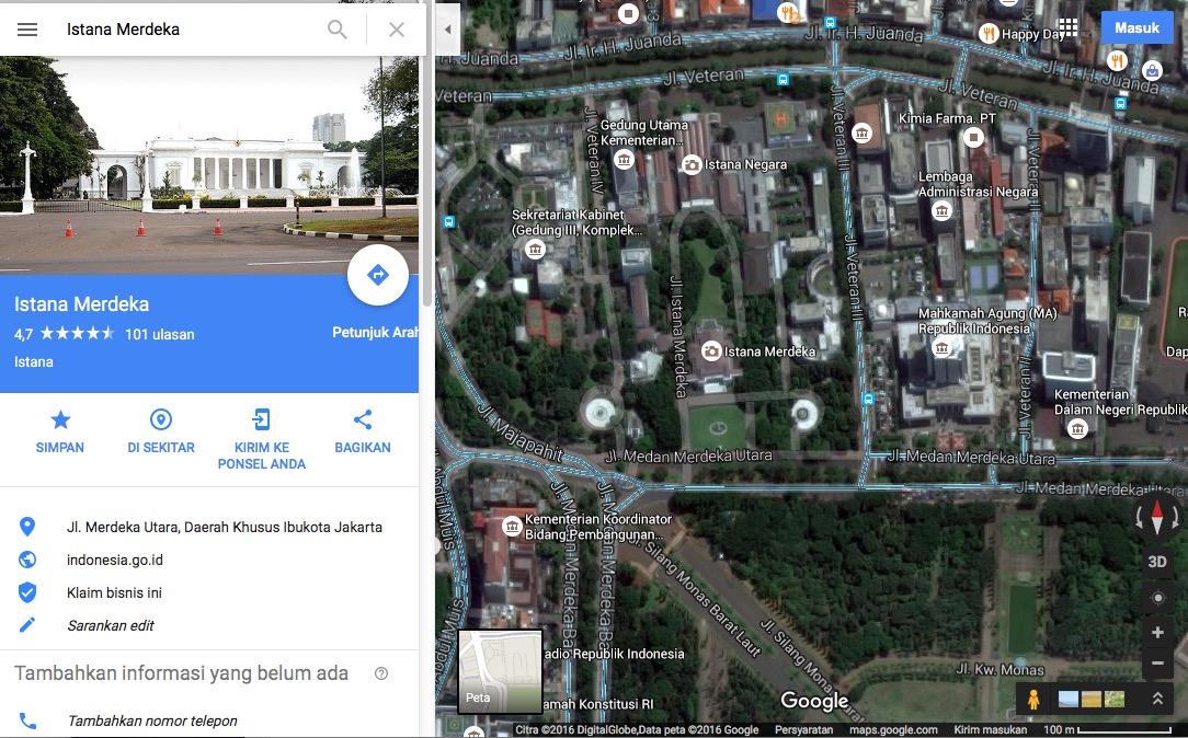 Istana Merdeka di Google Maps