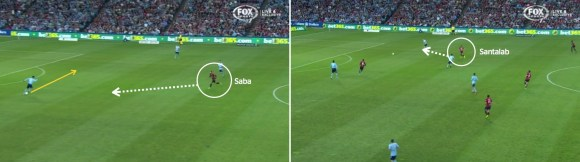 Saba starts the pressure on Ognenovski, and as the ball moves across field, Santalab joins him in support