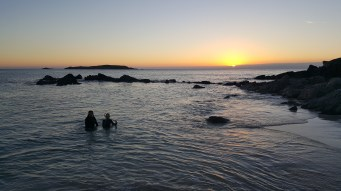 Sunset and swimming
