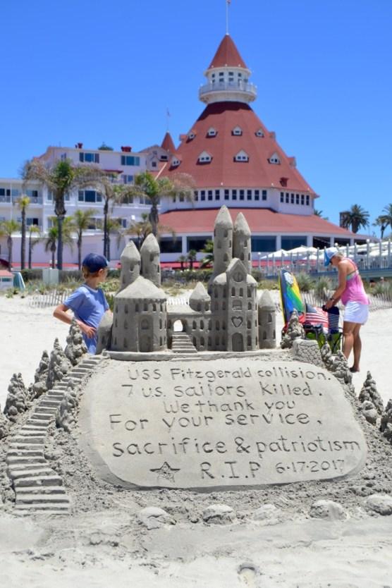 Sandcastle in front of Hotel Del Coronado