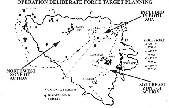 Operation Deliberate Force - zones of action