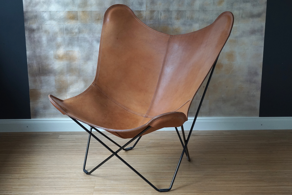 Sessel Leder Cognac Butterfly Chair Cognac Leder | Klassiker & Co.